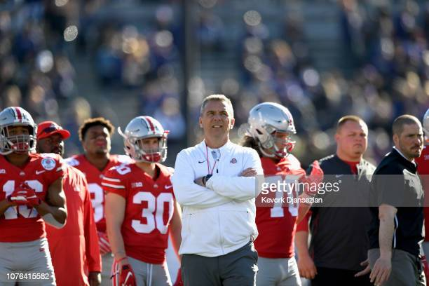 Ohio State Buckeyes head coach Urban Meyer looks on prior to the start of the Rose Bowl Game presented by Northwestern Mutual at the Rose Bowl on...