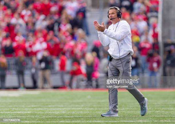 Ohio State Buckeyes head coach Urban Meyer reacts in a game between the Ohio State Buckeyes and the Minnesota Golden Gophers on October 13 2018 at...