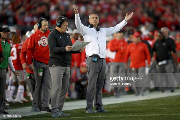 Ohio State Buckeyes head coach Urban Meyer reacts to a call during the second half in the Rose Bowl Game presented by Northwestern Mutual at the Rose...