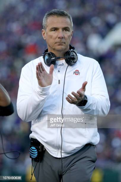 Ohio State Buckeyes head coach Urban Meyer reacts to a play during the second half in the Rose Bowl Game presented by Northwestern Mutual at the Rose...