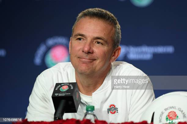 Ohio State Buckeyes head coach Urban Meyer speaks to the media after the Rose Bowl Game presented by Northwestern Mutual at the Rose Bowl on January...