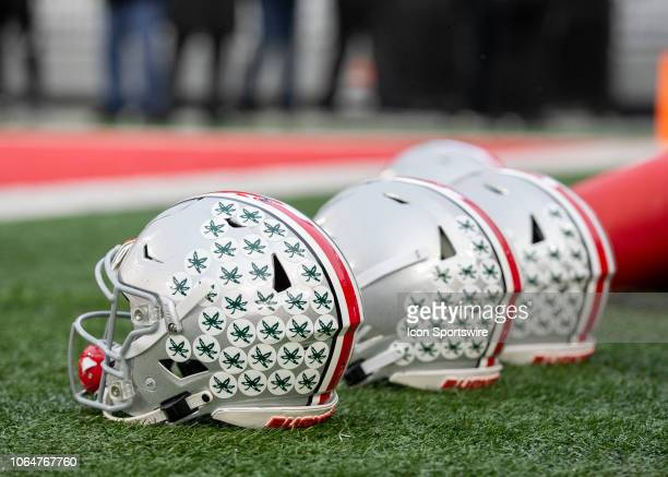 Ohio State Buckeyes helmets on the field before the game against the Michigan Wolverines at Ohio Stadium on November 24 2018