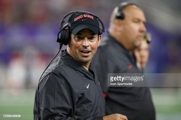 Ohio State Buckeyes interim head coach Ryan Day looks on during the Advocare Showdown college football game between the Ohio State Buckeyes and the...