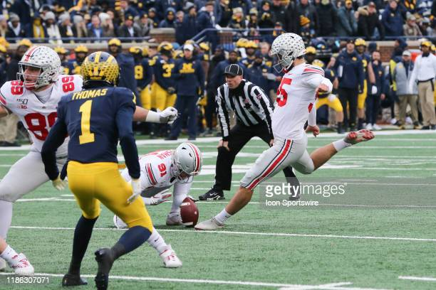 Ohio State Buckeyes kicker Blake Haubeil kicks an extra point during a regular season Big 10 Conference game between the Ohio State Buckeyes and the...