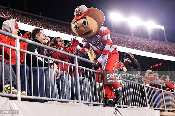 Ohio State Buckeyes mascot Brutus Buckeye greets fans during the second quarter of the game between the Ohio State Buckeyes and the Minnesota Golden...