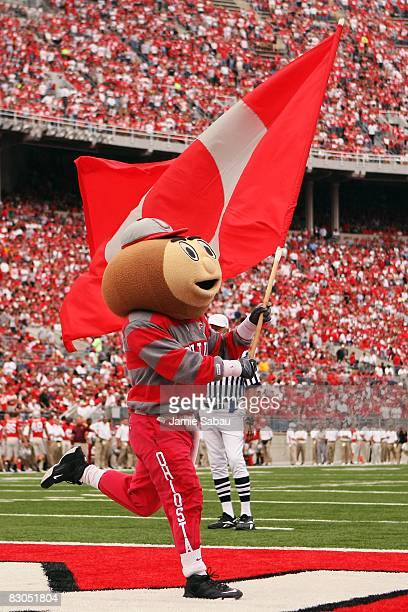 Ohio State Buckeyes mascot Brutus celebrates another Buckeyes touchdown against the Minnesota Golden Gophers on September 27 2008 at Ohio Stadium in...