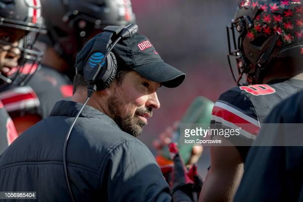 Ohio State Buckeyes offensive coordinator Ryan Day in a huddle during a timeout in a game between the Ohio State Buckeyes and the Nebraska...