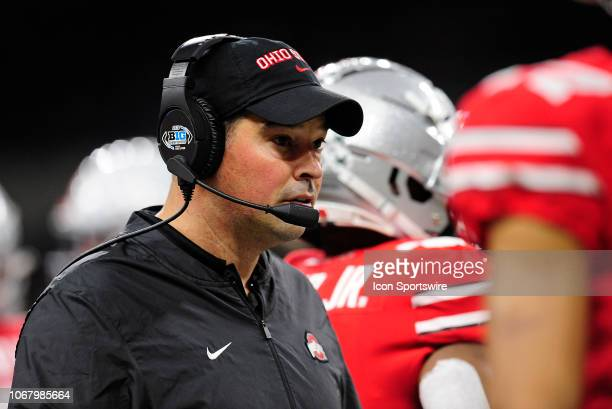 Ohio State Buckeyes Offensive Coordinator Ryan Day looks on during the Big Ten Conference Championship college football game between the Northwestern...