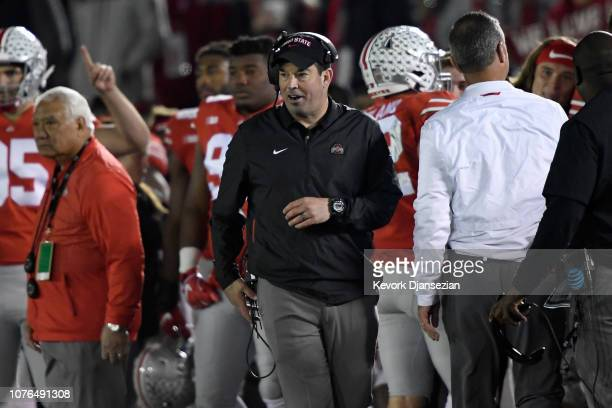 Ohio State Buckeyes offensive coordinator Ryan Day looks on during the second half in the Rose Bowl Game presented by Northwestern Mutual at the Rose...
