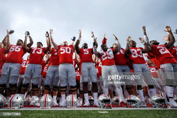 Ohio State Buckeyes players celebrate after a 523 win in the game against the Rutgers Scarlet Knights at Ohio Stadium on September 8 2018 in Columbus...
