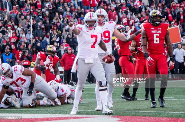Ohio State Buckeyes quarterback Dwayne Haskins after scoring a touchdown during a college football game between the University of Maryland and Ohio...