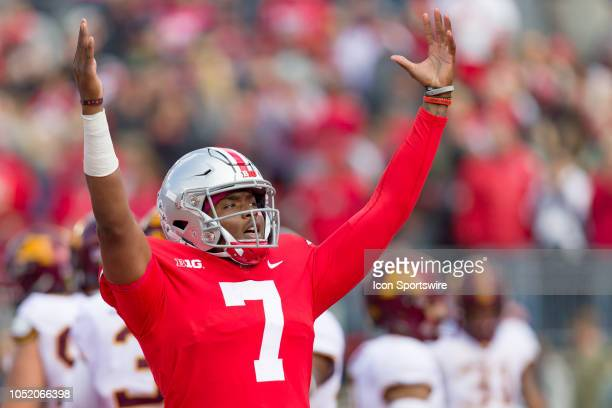 Ohio State Buckeyes quarterback Dwayne Haskins reacts towards the fans in a game between the Ohio State Buckeyes and the Minnesota Golden Gophers on...