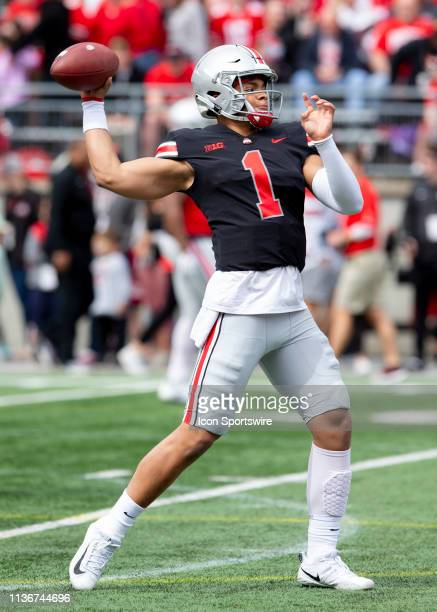 Ohio State Buckeyes quarterback Justin Fields passes the ball during warmups before the Ohio State Spring Game held at Ohio Stadium on April 13 2019