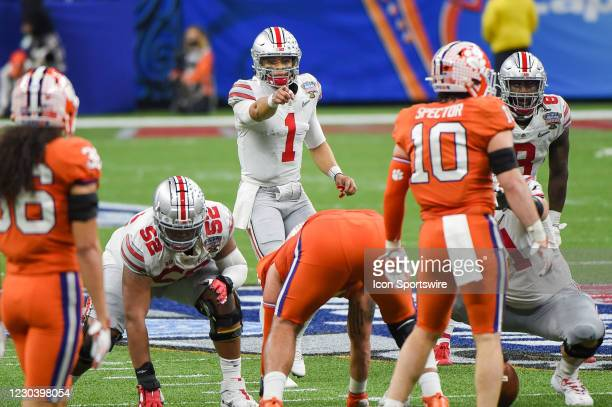 Ohio State Buckeyes quarterback Justin Fields points out the middle linebacker during the Allstate Sugar Bowl College Football Playoff Semifinal...