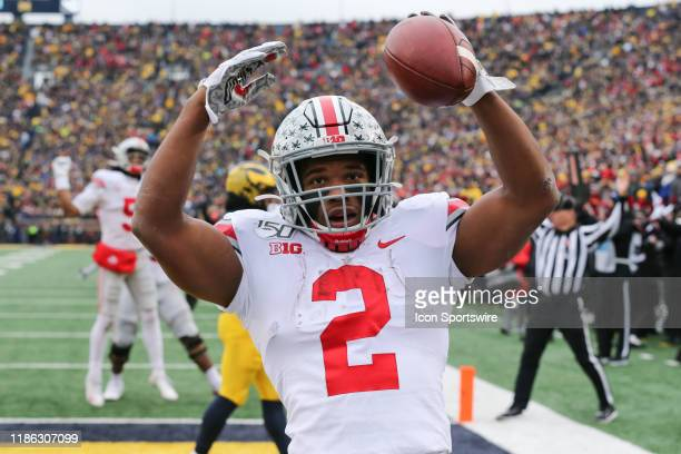 Ohio State Buckeyes running back JK Dobbins celebrates in the end zone after scoring a touchdown during a regular season Big 10 Conference game...