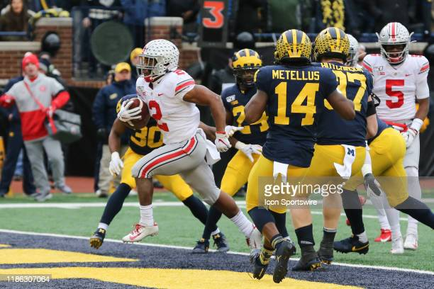 Ohio State Buckeyes running back JK Dobbins runs into the end zone for a touchdown during a regular season Big 10 Conference game between the Ohio...