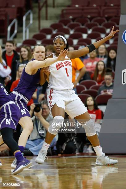 Ohio State Buckeyes Stephanie Mavunga calls for the ball while being defended by Northwestern Wildcats forward Abbie Wolf during the first half of a...