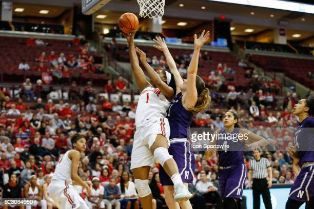 Ohio State Buckeyes Stephanie Mavunga goes in for a layup against Northwestern Wildcats forward Abbie Wolf during the second half of a regular season...