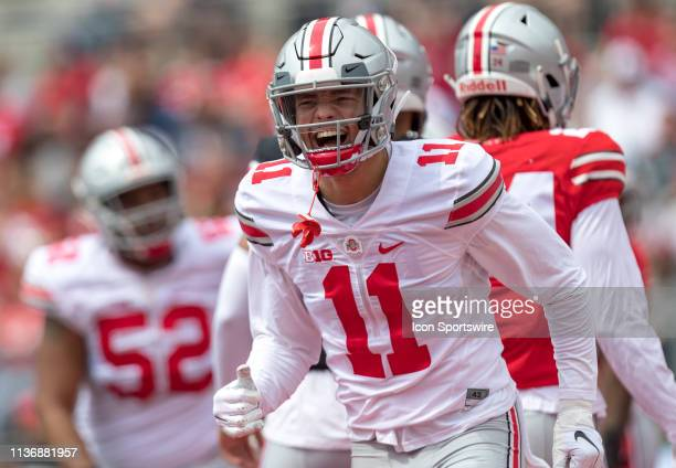Ohio State Buckeyes wide receiver Austin Mack reacts during the Ohio State Life Sports Spring Game presented by Nationwide at Ohio Stadium in...