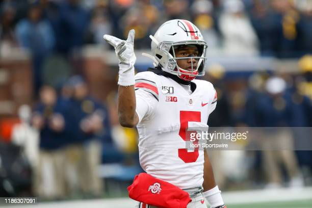 Ohio State Buckeyes wide receiver Garrett Wilson signals that he obtained a first down during a regular season Big 10 Conference game between the...