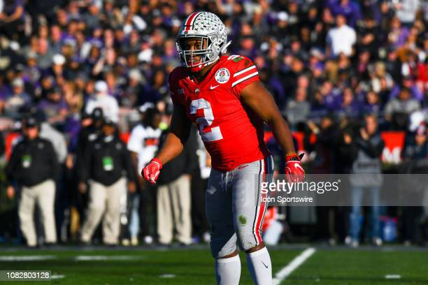 Ohio State Chase Young looks on during the Rose Bowl Game between the Washington Huskies and Ohio State Buckeyes on January 1 at the Rose Bowl in...