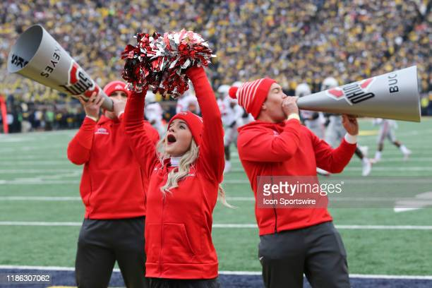 Ohio State cheerleaders cheer during a regular season Big 10 Conference game between the Ohio State Buckeyes and the Michigan Wolverines on November...