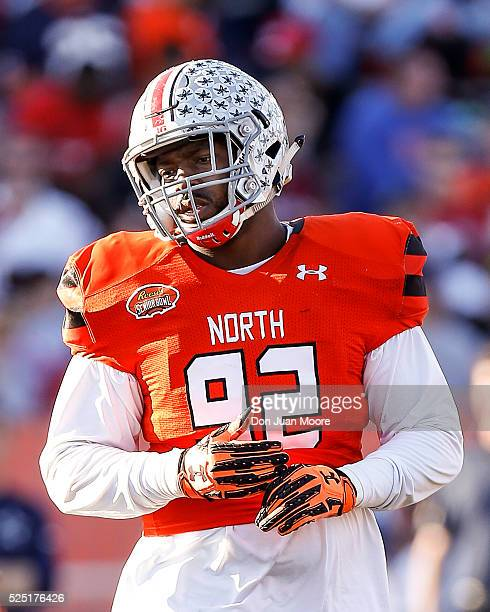 Ohio State Defensive Tackle Adolphus Washington of the North Team during the 2016 Resse's Senior Bowl at LaddPeebles Stadium on January 30 2016 in...
