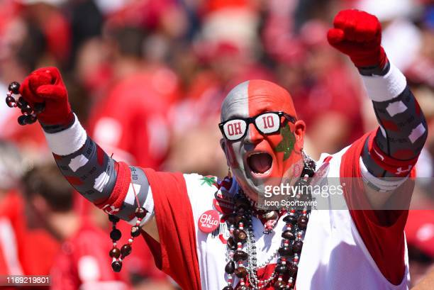 Ohio State fan Jon Big Nut Peters during a college football game between the Ohio State Buckeyes and Indiana Hoosiers on September 14 2019 at...
