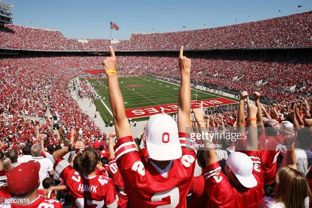 Ohio State fans cheer the Buckeyes on during the first half of their game against Youngstown State on August 30, 2008 at Ohio Stadium in Columbus,...