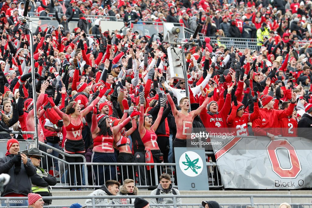 Ohio State Fans In The Block O Student Section Cheer During