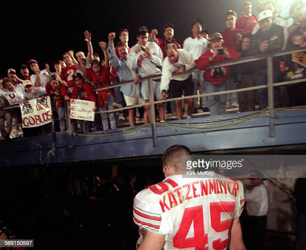 Ohio State freshman linebacker Andy Katzenmoyer leaves the field to the cheers of his fans after OSU beat previously unbeaten Arizona St in the Rose...