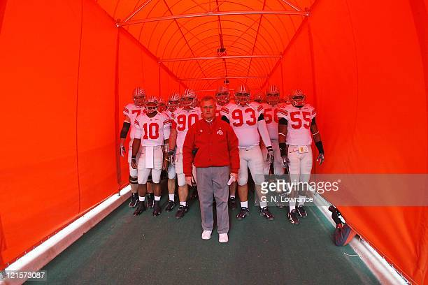 Ohio State head coach Jim Tressel waits with his team in the tunnel prior to action between the Ohio State Buckeyes and Illinois Fighting Illini at...