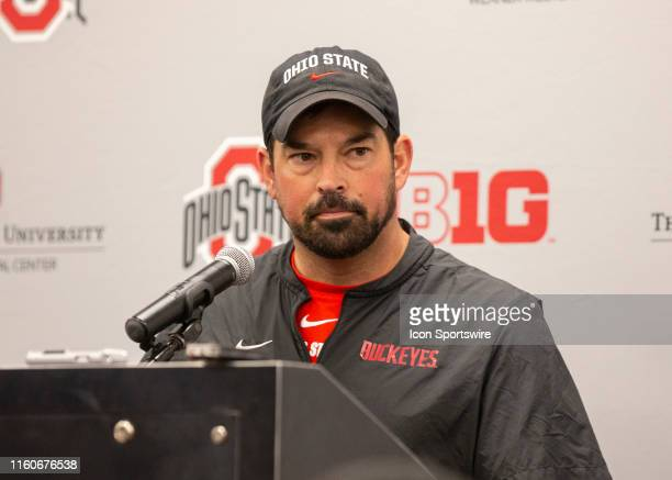 Ohio State Head Coach Ryan Day address members of the media after practice at the Woody Hayes Athletic Center in Columbus Ohio on August 10 2019