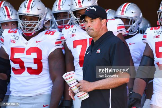 Ohio State head coach Ryan Day prior to a college football game between the Ohio State Buckeyes and Indiana Hoosiers on September 14 2019 at Memorial...