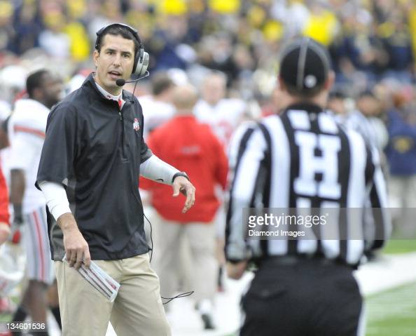 Ohio State head football coach Luke Fickell reacts to a ...