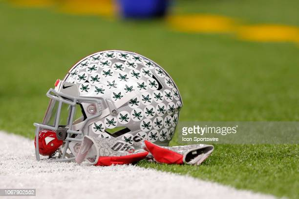 Ohio State helmet sits on the turf prior to the Big Ten Conference Championship game between the Northwestern Wildcats and the Ohio State Buckeyes on...