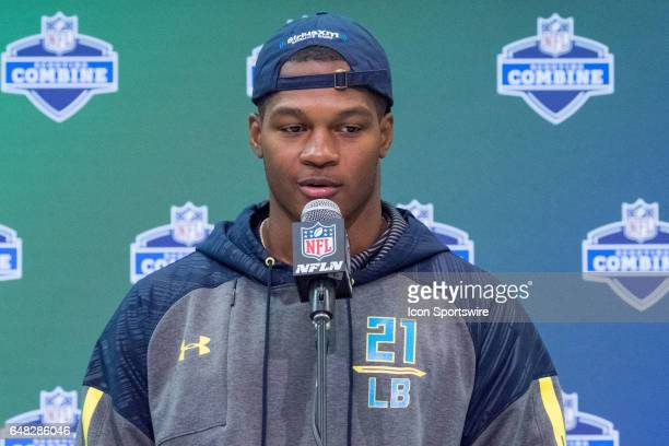 Ohio State linebacker Raekwon Mcmillan answers questions from members of the media during the NFL Scouting Combine on March 4 2017 at Lucas Oil...