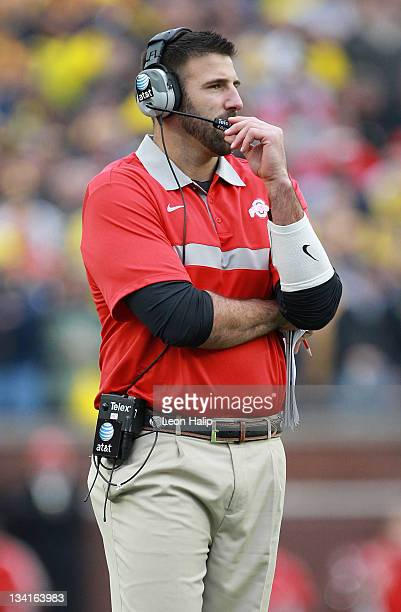 Ohio State Linebackers Coach Mike Vrabel watches the action during the fourth quarter of the game against the Michigan Wolverines at Michigan Stadium...
