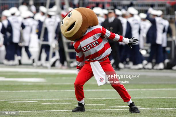 Ohio State mascot Brutus Buckeye performs prior to the start of the game between the Penn State Nittany Lions and the Ohio State Buckeyes on October...