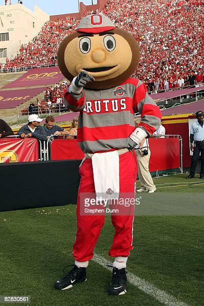 Ohio State mascot Brutus Buckeye poses for a photo prior to the Buckeyes 353 loss to the USC Trojans at the Los Angeles Memorial Coliseum on...