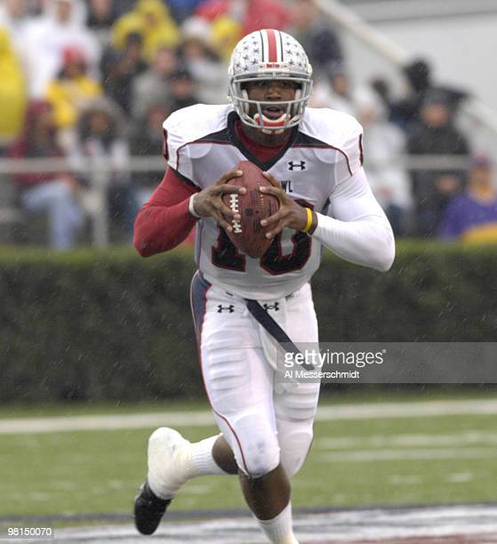 Ohio State quarterback Troy Smith runs from the pocket during the 2007 Under Armour Senior Bowl game at LaddPeebles Stadium Mobile Alabama January 27...