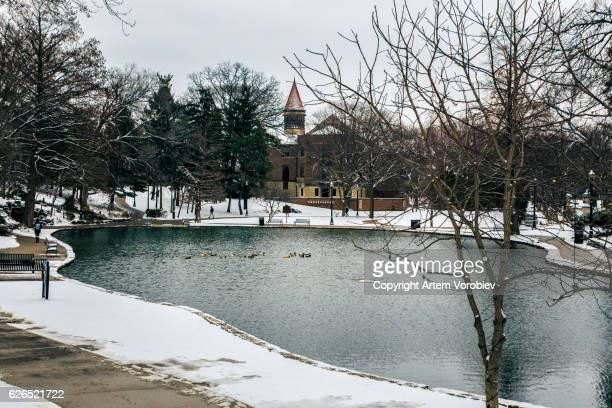 Ohio State University campus in winter