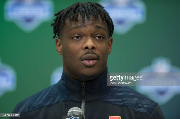 Ohio State wide receiver Noah Brown answers questions from the media during the NFL Scouting Combine on March 3 2017 at Lucas Oil Stadium in...