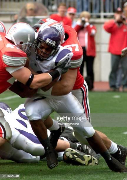 Ohio StateÆs AJ Hawk and Mike Kudla wrap up NorthwesternÆs Jason Wright during first qtr action at Ohio Stadium in Columbus Ohio September 27 2003...