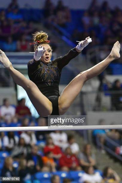 Ohio State's Alexis Mattern as seen on the bars during semifinal I of the NCAA Women's Gymnastics National Championship on April 14 at Chaifetz Arena...