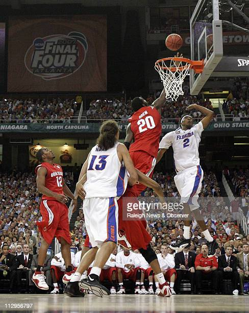Ohio State's Greg Oden challenges a shot by Florida's Corey Brewer in the first half of the NCAA Men's Basketball Championship game at the Georgia...