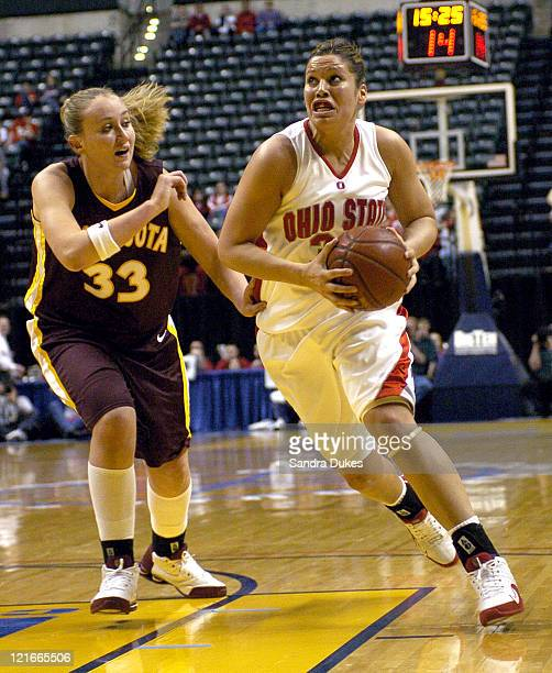 Ohio State's Michelle Munoz drives around Jamie Broback in Minnesota's upset win over Ohio State in the Big Ten Tournament at Conseco Fieldhouse in...