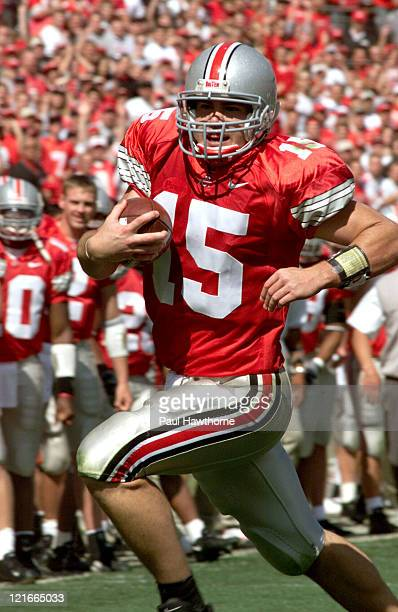 Ohio States quarter back Scott McMullen rushes with the ball ealry in the third qtr to set up a touchdown during play against Northwestern at Ohio...