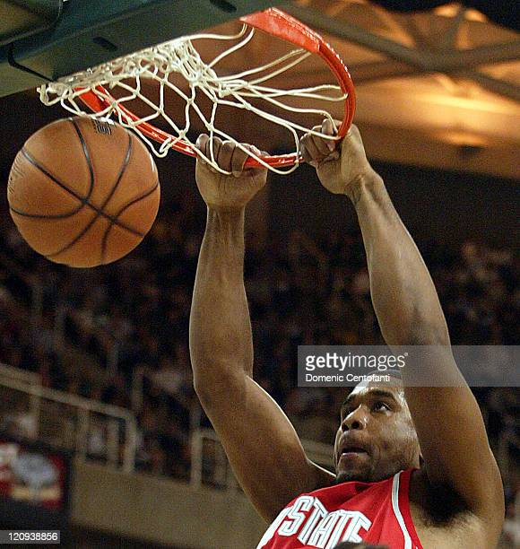 Ohio State's Terence Dials dunks the basketball in the first half at the Breslin Center in East Lansing Michigan on February 22 2006 Michigan State...