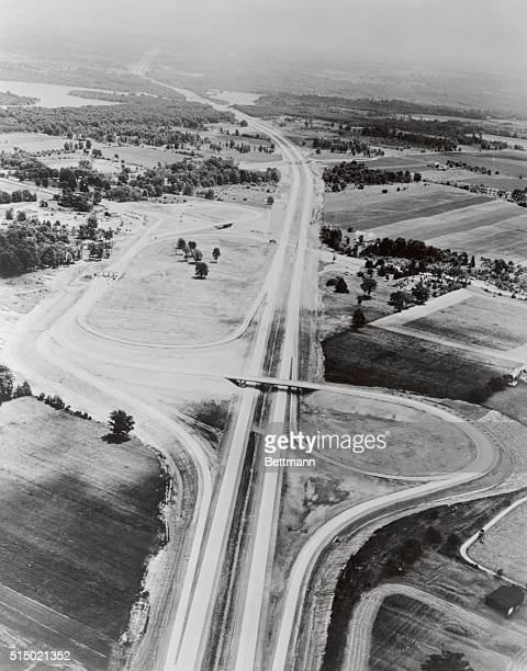 Ohio turnpike at Ohio Route 18 seven miles west of Youngstown The turnpike is the divided fourlane super highway running from the left foreground to...